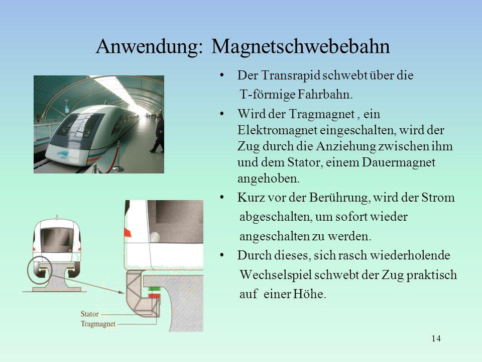 Anwendung: Magnetschwebebahn Der Transrapid schwebt über die T-förmige Fahrbahn. Wird der Tragmagnet, ein Elektromagnet eingeschalten, wird der Zug du