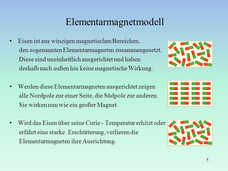 Elementarmagnetmodell Eisen ist aus winzigen magnetischen Bereichen, den sogenannten Elementarmagneten zusammengesetzt. Diese sind uneinheitlich ausge