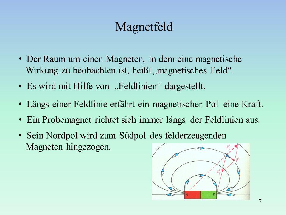 Magnetfeld 7 Der Raum um einen Magneten, in dem eine magnetische Wirkung zu beobachten ist, heißt magnetisches Feld. Es wird mit Hilfe von dargestellt