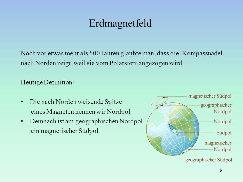 Noch vor etwas mehr als 500 Jahren glaubte man, dass die Kompassnadel nach Norden zeigt, weil sie vom Polarstern angezogen wird. Heutige Definition: D
