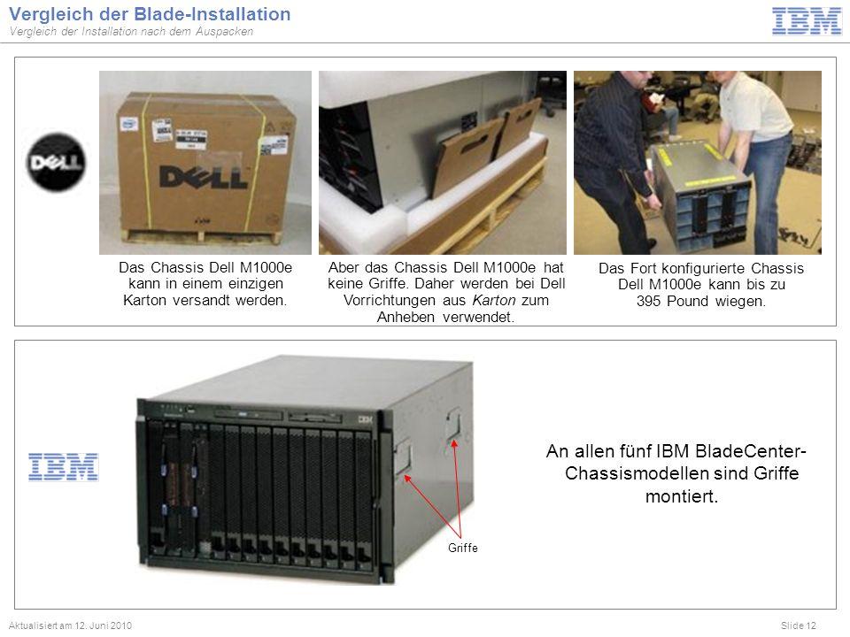 Slide 12 Vergleich der Blade-Installation Vergleich der Installation nach dem Auspacken Aktualisiert am 12. Juni 2010 Griffe An allen fünf IBM BladeCe