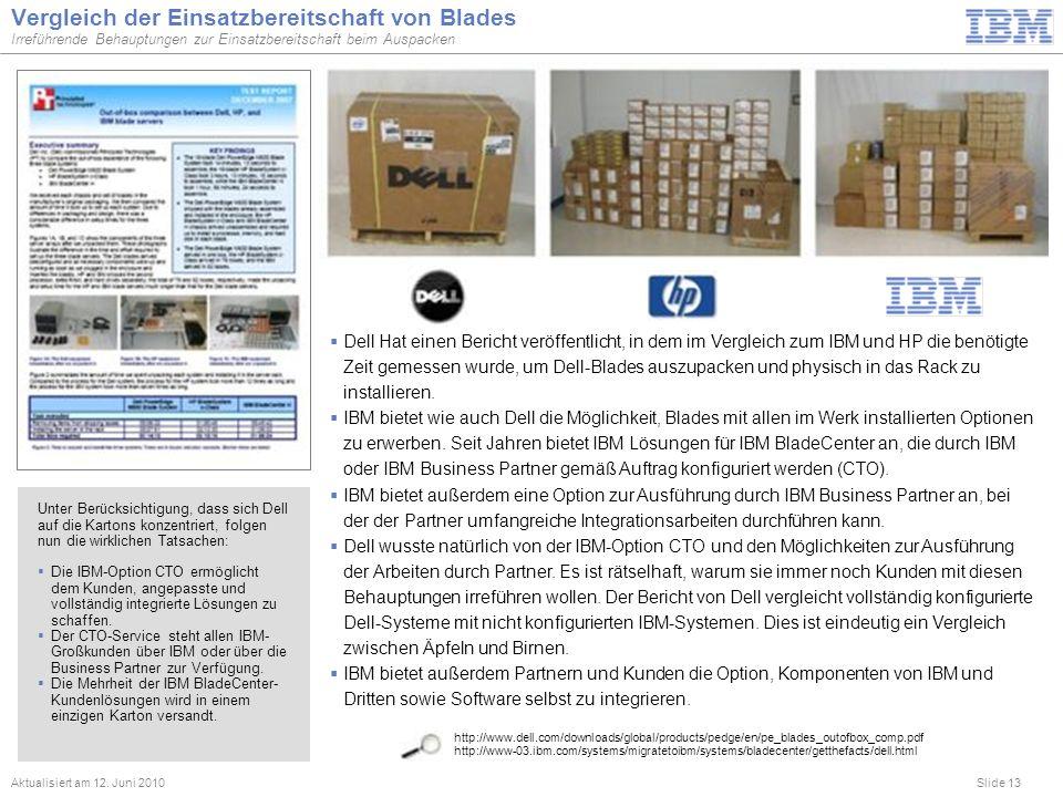Slide 13 Vergleich der Einsatzbereitschaft von Blades Irreführende Behauptungen zur Einsatzbereitschaft beim Auspacken Aktualisiert am 12. Juni 2010 h