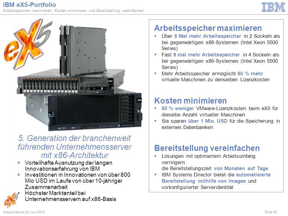 Slide 15 IBM eX5-Portfolio Arbeitsspeicher maximieren, Kosten minimieren und Bereitstellung vereinfachen Aktualisiert am 23. Juni 2010 Vorteilhafte Au