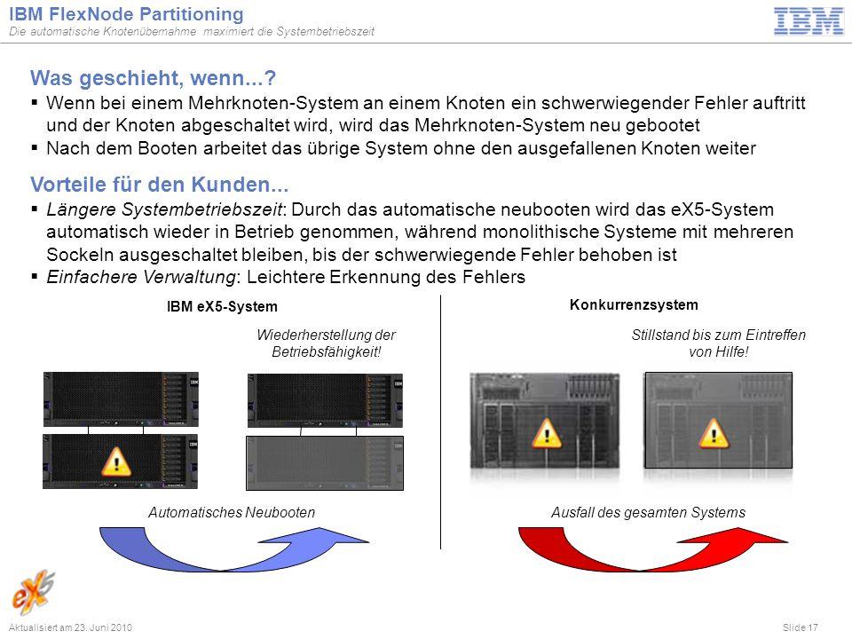 Slide 17 IBM FlexNode Partitioning Die automatische Knotenübernahme maximiert die Systembetriebszeit Aktualisiert am 23. Juni 2010 Was geschieht, wenn