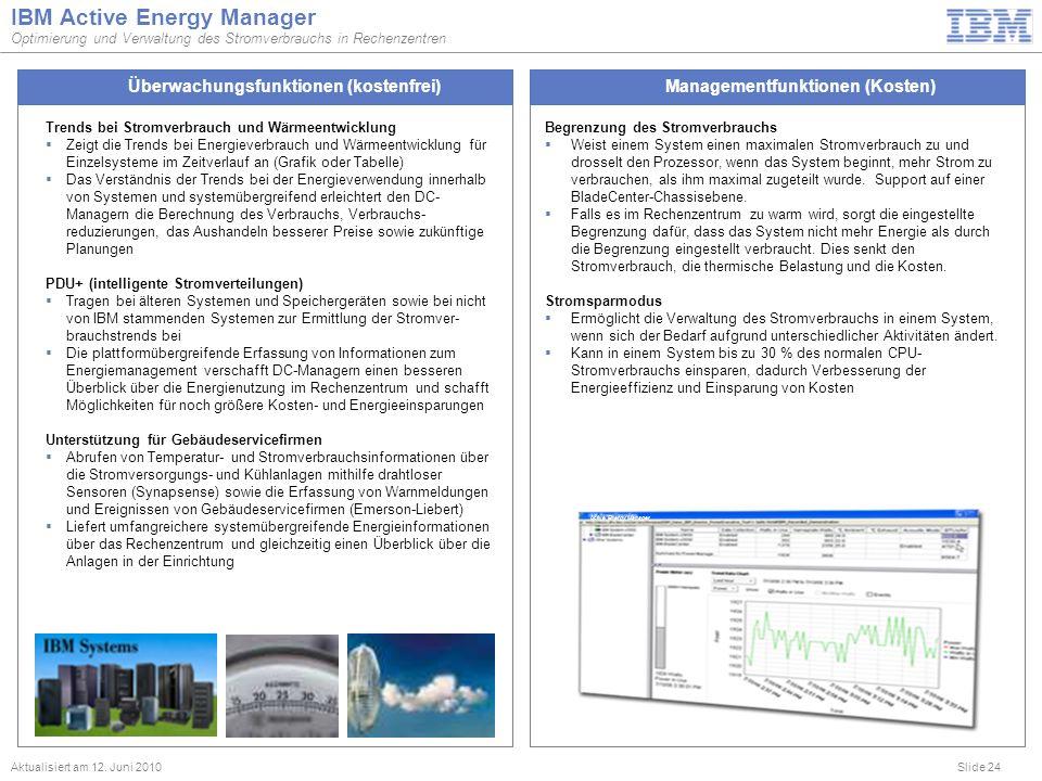 Slide 24 IBM Active Energy Manager Optimierung und Verwaltung des Stromverbrauchs in Rechenzentren Aktualisiert am 12. Juni 2010 Begrenzung des Stromv
