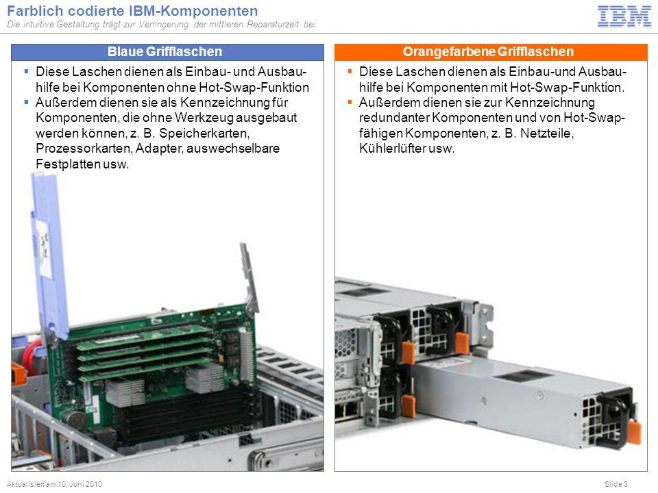 Slide 3 Farblich codierte IBM-Komponenten Die intuitive Gestaltung trägt zur Verringerung der mittleren Reparaturzeit bei Aktualisiert am 10. Juni 201