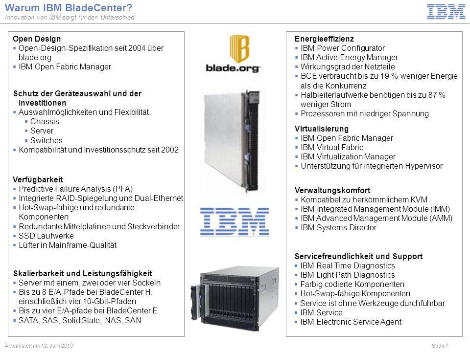 Slide 7 Warum IBM BladeCenter? Innovation von IBM sorgt für den Unterschied Aktualisiert am 12. Juni 2010 Servicefreundlichkeit und Support IBM Real T