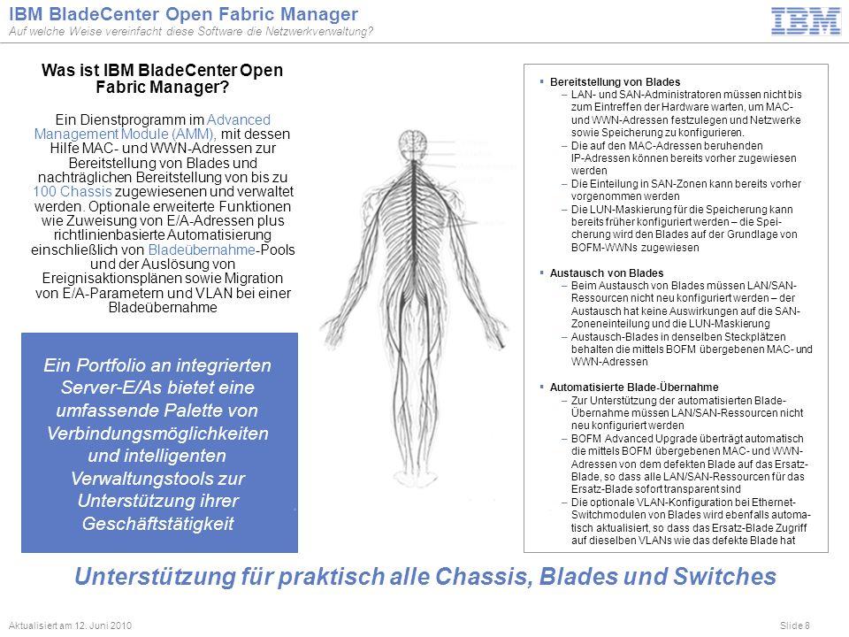 Slide 8 IBM BladeCenter Open Fabric Manager Auf welche Weise vereinfacht diese Software die Netzwerkverwaltung? Aktualisiert am 12. Juni 2010 Ein Port