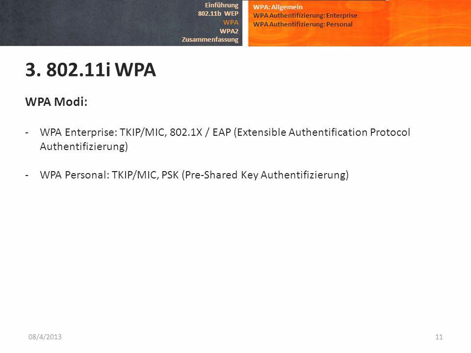 08/4/201311 WPA: Allgemein WPA Authentifizierung: Enterprise WPA Authentifizierung: Personal 3. 802.11i WPA Einführung 802.11b WEP WPA WPA2 Zusammenfa