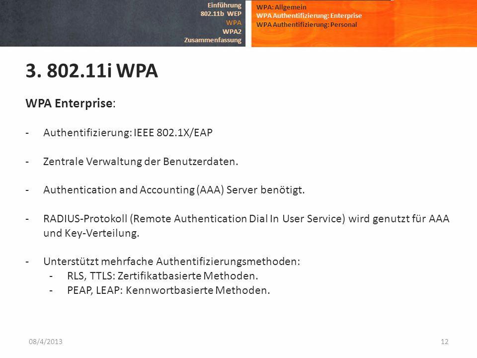 08/4/201312 WPA: Allgemein WPA Authentifizierung: Enterprise WPA Authentifizierung: Personal 3. 802.11i WPA Einführung 802.11b WEP WPA WPA2 Zusammenfa