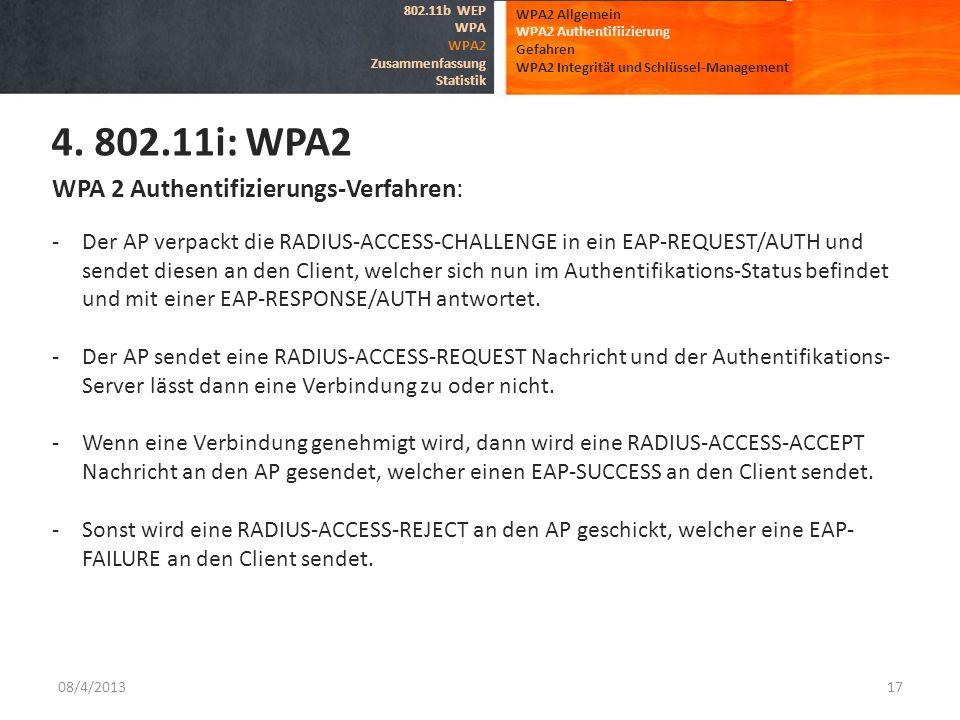 08/4/201317 WPA2 Allgemein WPA2 Authentifiizierung Gefahren WPA2 Integrität und Schlüssel-Management 4. 802.11i: WPA2 802.11b WEP WPA WPA2 Zusammenfas