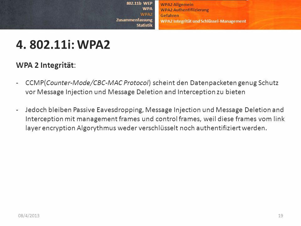 08/4/201319 WPA2 Allgemein WPA2 Authentifiizierung Gefahren WPA2 Integrität und Schlüssel-Management 4. 802.11i: WPA2 802.11b WEP WPA WPA2 Zusammenfas