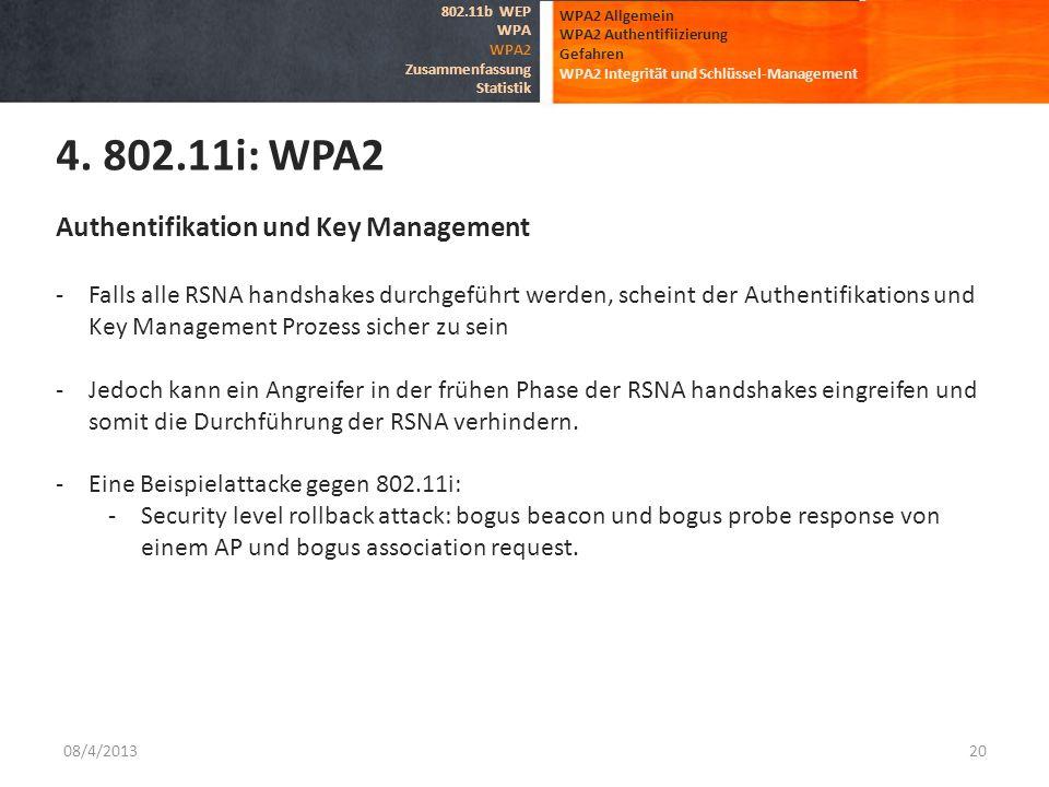 08/4/201320 WPA2 Allgemein WPA2 Authentifiizierung Gefahren WPA2 Integrität und Schlüssel-Management 4. 802.11i: WPA2 802.11b WEP WPA WPA2 Zusammenfas