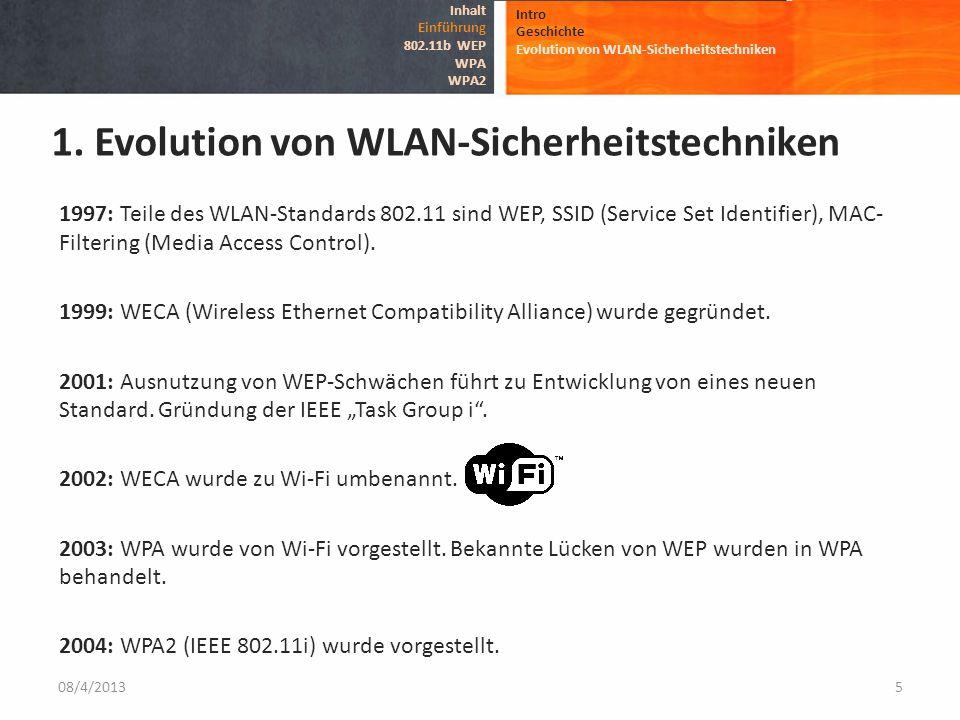1997: Teile des WLAN-Standards 802.11 sind WEP, SSID (Service Set Identifier), MAC- Filtering (Media Access Control). 1999: WECA (Wireless Ethernet Co