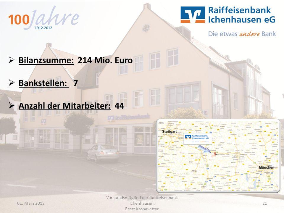 01. März 2012 Vorstandsmitglied der Raiffeisenbank Ichenhausen: Ernst Kronawitter 21 Bilanzsumme: 214 Mio. Euro Bankstellen: 7 Anzahl der Mitarbeiter: