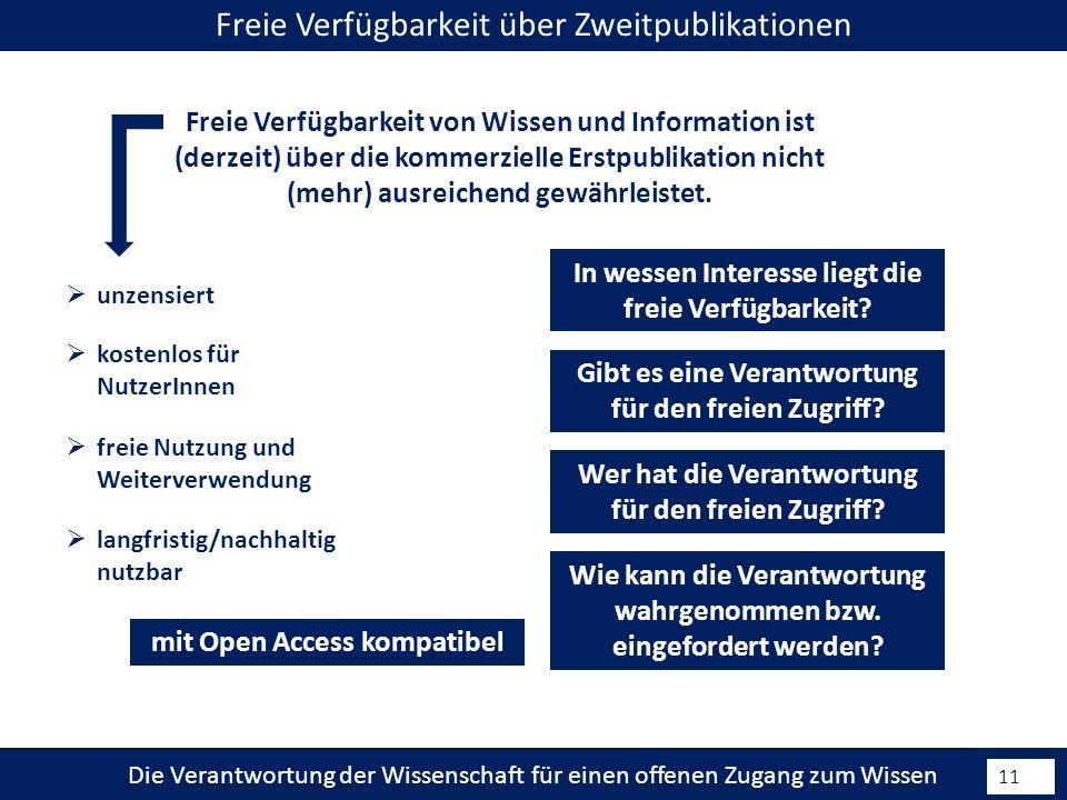 Die Verantwortung der Wissenschaft für einen offenen Zugang zum Wissen 11 Freie Verfügbarkeit von Wissen und Information ist (derzeit) über die kommerzielle Erstpublikation nicht (mehr) ausreichend gewährleistet.