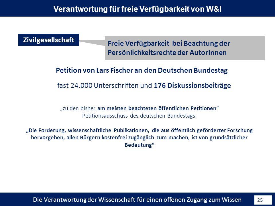 Die Verantwortung der Wissenschaft für einen offenen Zugang zum Wissen 25 Petition von Lars Fischer an den Deutschen Bundestag Freie Verfügbarkeit bei Beachtung der Persönlichkeitsrechte der AutorInnen Zivilgesellschaft Verantwortung für freie Verfügbarkeit von W&I zu den bisher am meisten beachteten öffentlichen Petitionen Petitionsausschuss des deutschen Bundestags: Die Forderung, wissenschaftliche Publikationen, die aus öffentlich geförderter Forschung hervorgehen, allen Bürgern kostenfrei zugänglich zum machen, ist von grundsätzlicher Bedeutung fast 24.000 Unterschriften und 176 Diskussionsbeiträge