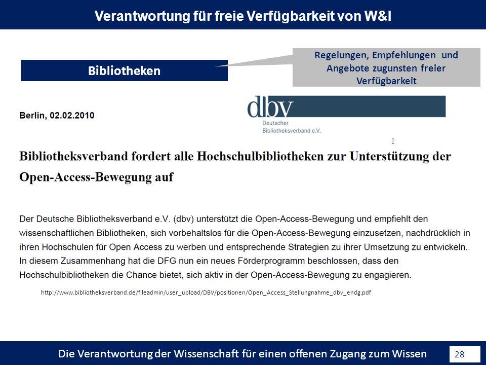 Die Verantwortung der Wissenschaft für einen offenen Zugang zum Wissen 28 Bibliotheken Verantwortung für freie Verfügbarkeit von W&I Regelungen, Empfehlungen und Angebote zugunsten freier Verfügbarkeit http://www.bibliotheksverband.de/fileadmin/user_upload/DBV/positionen/Open_Access_Stellungnahme_dbv_endg.pdf