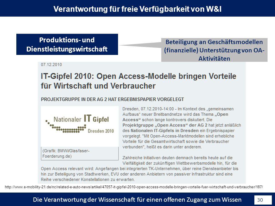 Die Verantwortung der Wissenschaft für einen offenen Zugang zum Wissen 30 Beteiligung an Geschäftsmodellen (finanzielle) Unterstützung von OA- Aktivitäten Produktions- und Dienstleistungswirtschaft Verantwortung für freie Verfügbarkeit von W&I http://www.e-mobility-21.de/nc/related-e-auto-news/artikel/47057-it-gipfel-2010-open-access-modelle-bringen-vorteile-fuer-wirtschaft-und-verbraucher/187/