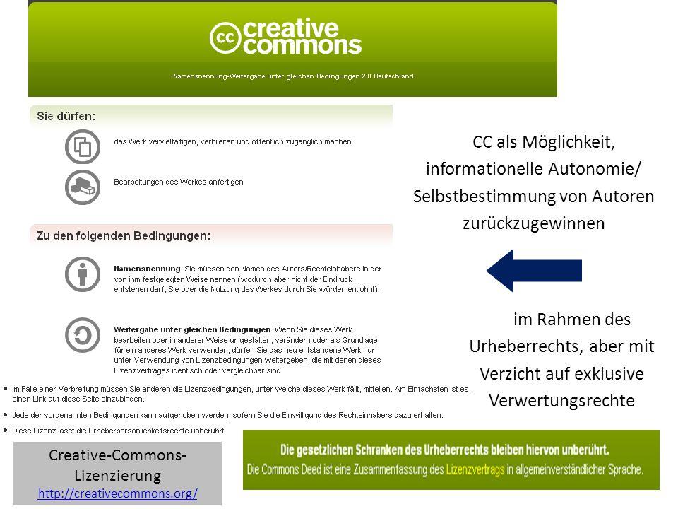 Towards a commons-based copyright– IFLA 08/2010 CC als Möglichkeit, informationelle Autonomie/ Selbstbestimmung von Autoren zurückzugewinnen im Rahmen des Urheberrechts, aber mit Verzicht auf exklusive Verwertungsrechte Creative-Commons- Lizenzierung http://creativecommons.org/ http://creativecommons.org/