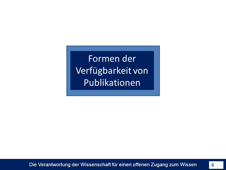 Die Verantwortung der Wissenschaft für einen offenen Zugang zum Wissen 9 Formen der Verfügbarkeit von Publikationen Ware/Mabe; The stm report.