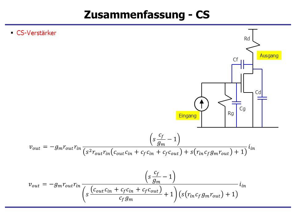 Zusammenfassung - CS CS-Verstärker Eingang Ausgang Rg Rd Cg Cf Cd