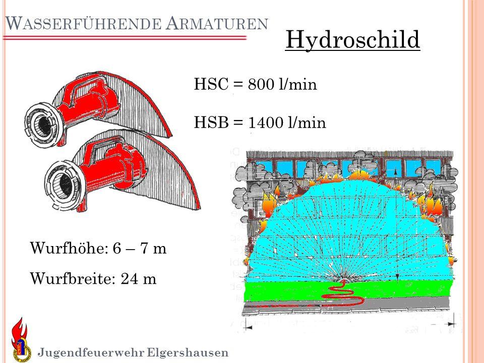 W ASSERFÜHRENDE A RMATUREN Jugendfeuerwehr Elgershausen Wurfhöhe: 6 – 7 m Wurfbreite: 24 m Hydroschild HSC = 800 l/min HSB = 1400 l/min