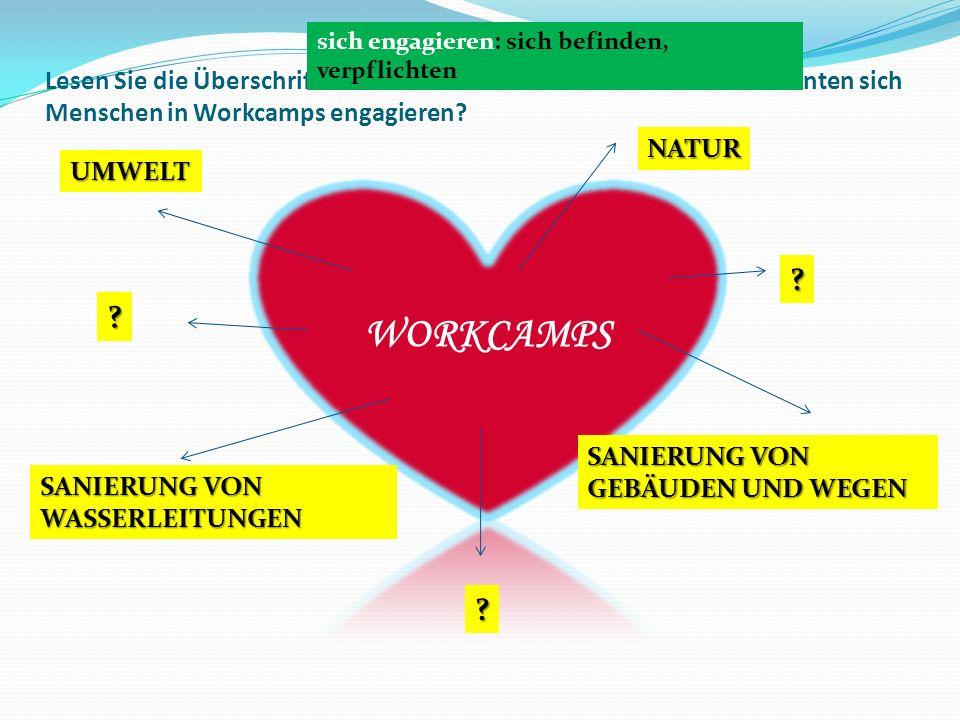 Lesen Sie die Überschrift und sehen Sie sich die Bilder an. Wofür könnten sich Menschen in Workcamps engagieren? UMWELT NATUR SANIERUNG VON GEBÄUDEN U