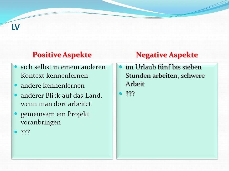 LV Positive Aspekte Negative Aspekte sich selbst in einem anderen Kontext kennenlernen andere kennenlernen anderer Blick auf das Land, wenn man dort a