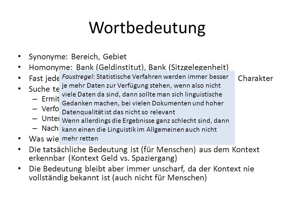 Wortbedeutung Synonyme: Bereich, Gebiet Homonyme: Bank (Geldinstitut), Bank (Sitzgelegenheit) Fast jedes Wort hat synonymischen und homonymischen Char