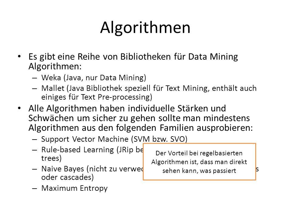 Algorithmen Es gibt eine Reihe von Bibliotheken für Data Mining Algorithmen: – Weka (Java, nur Data Mining) – Mallet (Java Bibliothek speziell für Tex