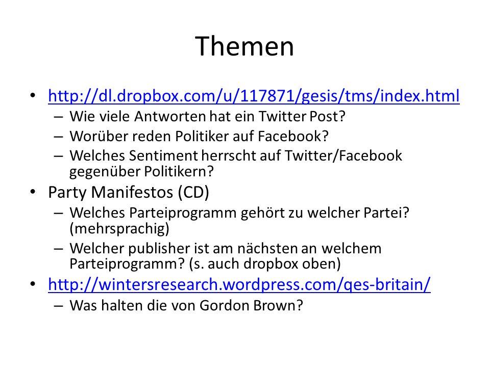 Themen http://dl.dropbox.com/u/117871/gesis/tms/index.html – Wie viele Antworten hat ein Twitter Post? – Worüber reden Politiker auf Facebook? – Welch