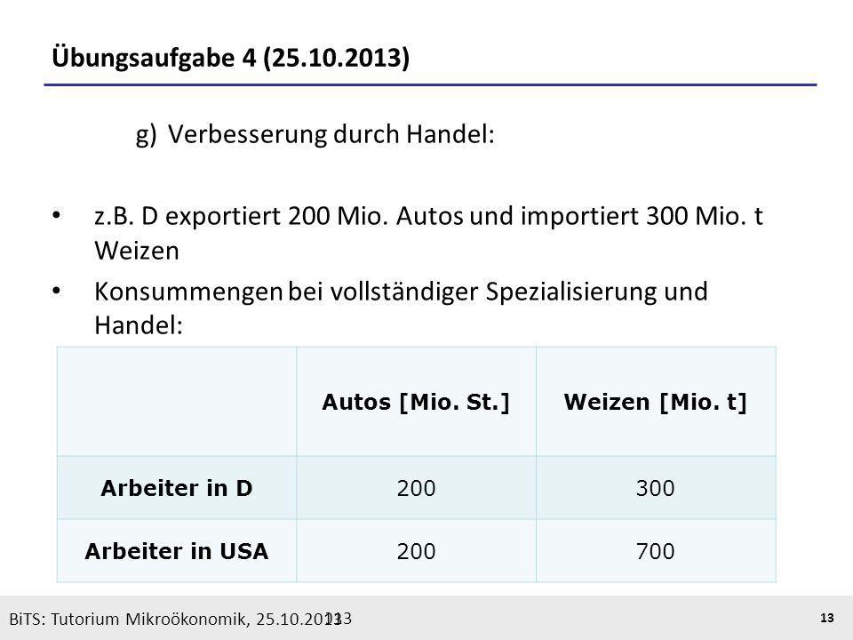 BiTS: Tutorium Mikroökonomik, 05.11.2013 13 Übungsaufgabe 4 (25.10.2013) g) Verbesserung durch Handel: z.B. D exportiert 200 Mio. Autos und importiert