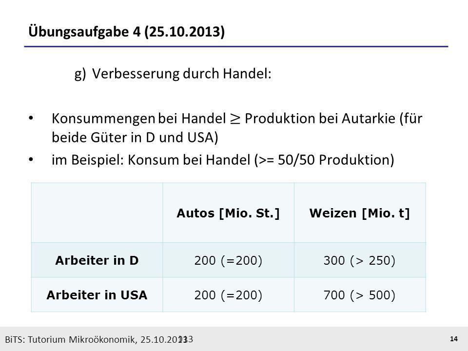 BiTS: Tutorium Mikroökonomik, 05.11.2013 14 Übungsaufgabe 4 (25.10.2013) BiTS: Tutorium Mikroökonomik, 25.10.2013 Autos [Mio. St.]Weizen [Mio. t] Arbe