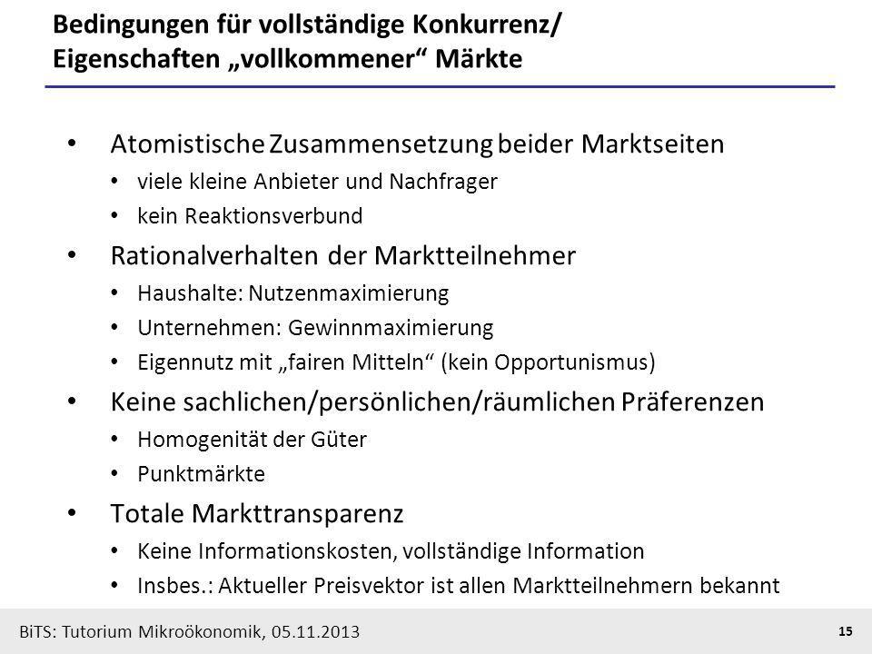 BiTS: Tutorium Mikroökonomik, 05.11.2013 15 Bedingungen für vollständige Konkurrenz/ Eigenschaften vollkommener Märkte Atomistische Zusammensetzung be