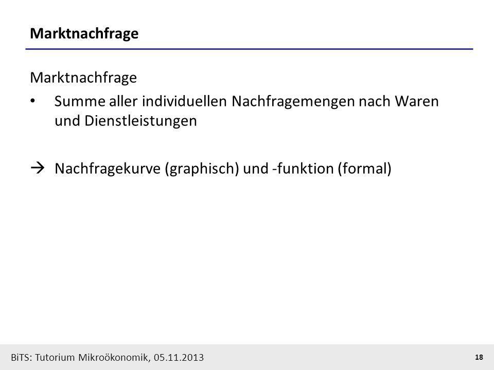 BiTS: Tutorium Mikroökonomik, 05.11.2013 18 Marktnachfrage Summe aller individuellen Nachfragemengen nach Waren und Dienstleistungen Nachfragekurve (g