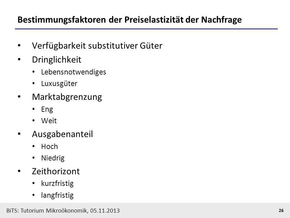 BiTS: Tutorium Mikroökonomik, 05.11.2013 26 Bestimmungsfaktoren der Preiselastizität der Nachfrage Verfügbarkeit substitutiver Güter Dringlichkeit Leb