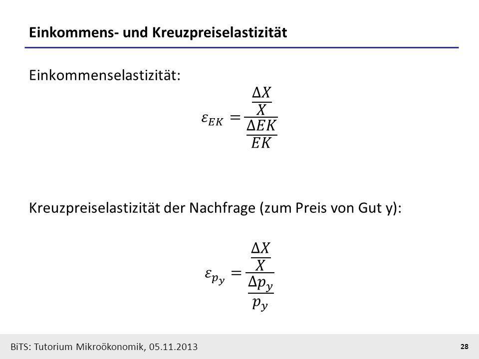 BiTS: Tutorium Mikroökonomik, 05.11.2013 28 Einkommens- und Kreuzpreiselastizität
