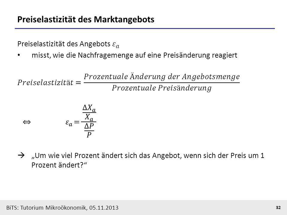 BiTS: Tutorium Mikroökonomik, 05.11.2013 32 Preiselastizität des Marktangebots