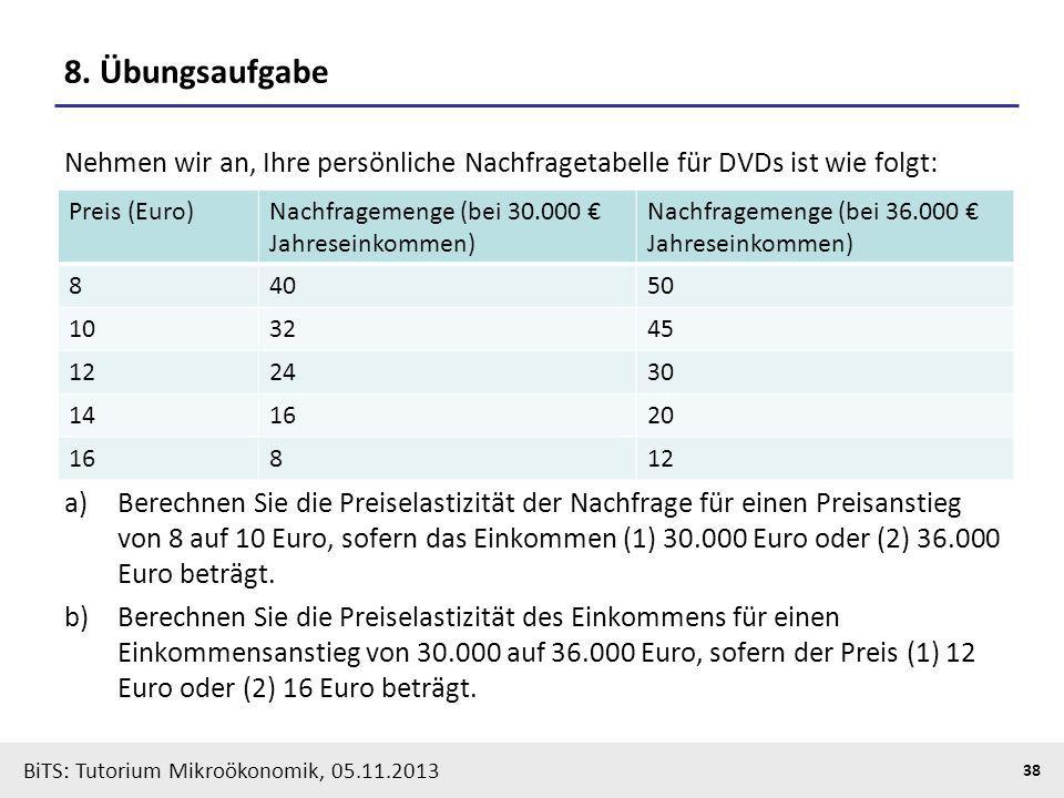 BiTS: Tutorium Mikroökonomik, 05.11.2013 38 8. Übungsaufgabe Nehmen wir an, Ihre persönliche Nachfragetabelle für DVDs ist wie folgt: a)Berechnen Sie