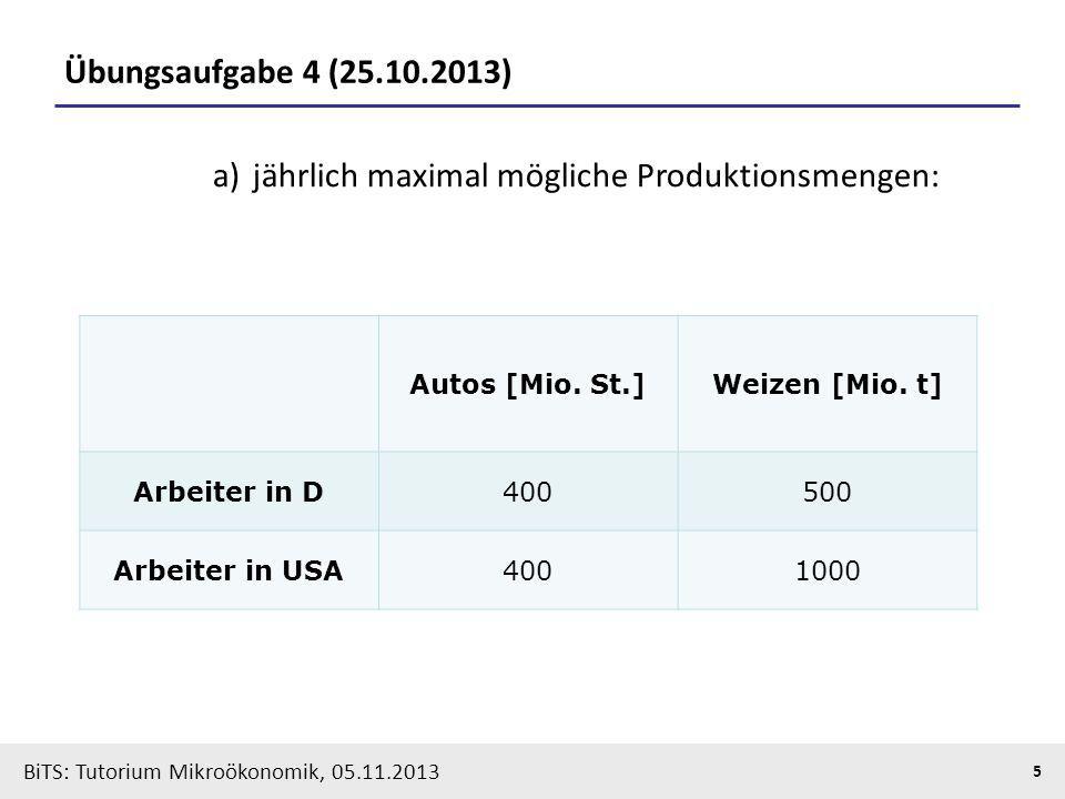 BiTS: Tutorium Mikroökonomik, 05.11.2013 5 Übungsaufgabe 4 (25.10.2013) Autos [Mio. St.]Weizen [Mio. t] Arbeiter in D400500 Arbeiter in USA4001000 a)