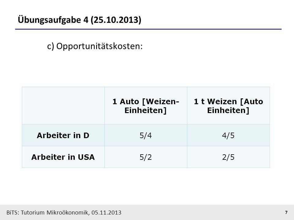 BiTS: Tutorium Mikroökonomik, 05.11.2013 7 Übungsaufgabe 4 (25.10.2013) c) Opportunitätskosten: 1 Auto [Weizen- Einheiten] 1 t Weizen [Auto Einheiten]