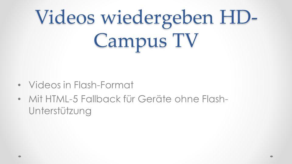 Videos wiedergeben HD- Campus TV Videos in Flash-Format Mit HTML-5 Fallback für Geräte ohne Flash- Unterstützung