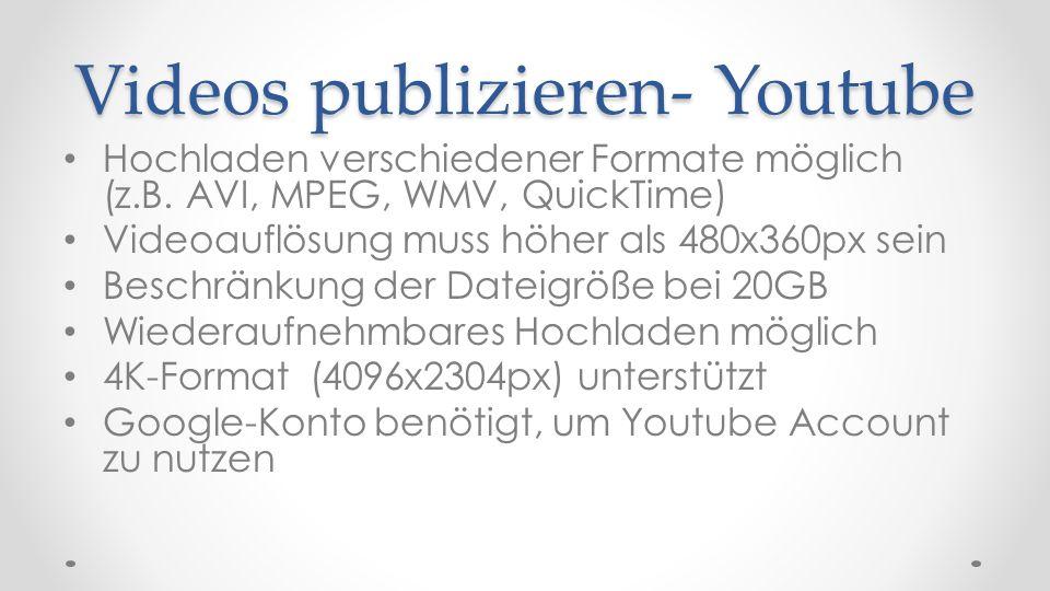 Videos wiedergeben- Youtube Videos nicht mehr im Flash-Format, sondern als HTML-5 Video ansehen Dauerhaftes Speichern nicht vorgesehen Zum Speichern können Dienste wie Filsh verwendet werden