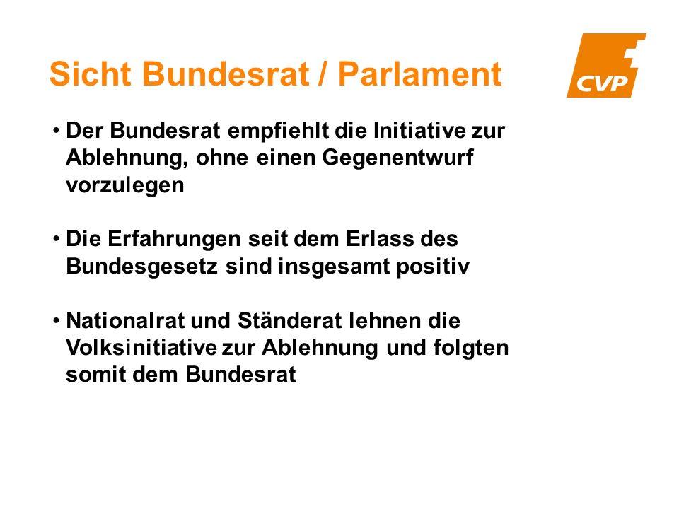 Sicht Bundesrat / Parlament Der Bundesrat empfiehlt die Initiative zur Ablehnung, ohne einen Gegenentwurf vorzulegen Die Erfahrungen seit dem Erlass d