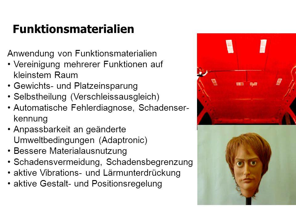 Funktionsmaterialien Anwendung von Funktionsmaterialien Vereinigung mehrerer Funktionen auf kleinstem Raum Gewichts- und Platzeinsparung Selbstheilung