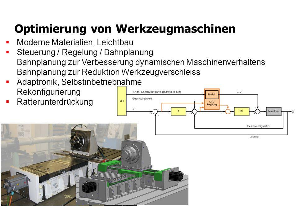 Optimierung von Werkzeugmaschinen Moderne Materialien, Leichtbau Steuerung / Regelung / Bahnplanung Bahnplanung zur Verbesserung dynamischen Maschinen