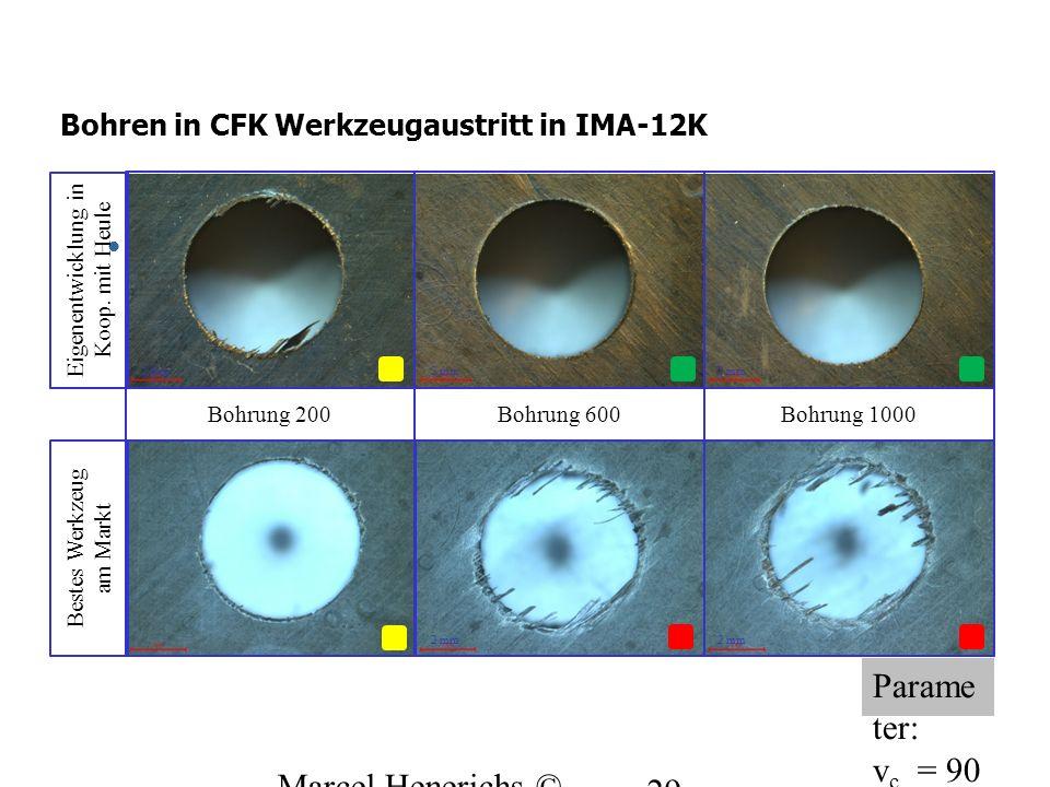 Mikroskop Bilder – Bohreraustritt 2 mm Parame ter: v c = 90 m/min f = 0.06 mm/U 29 Bohrung 200 2 mm Bohrung 600Bohrung 1000 2 mm Bohren in CFK Werkzeu