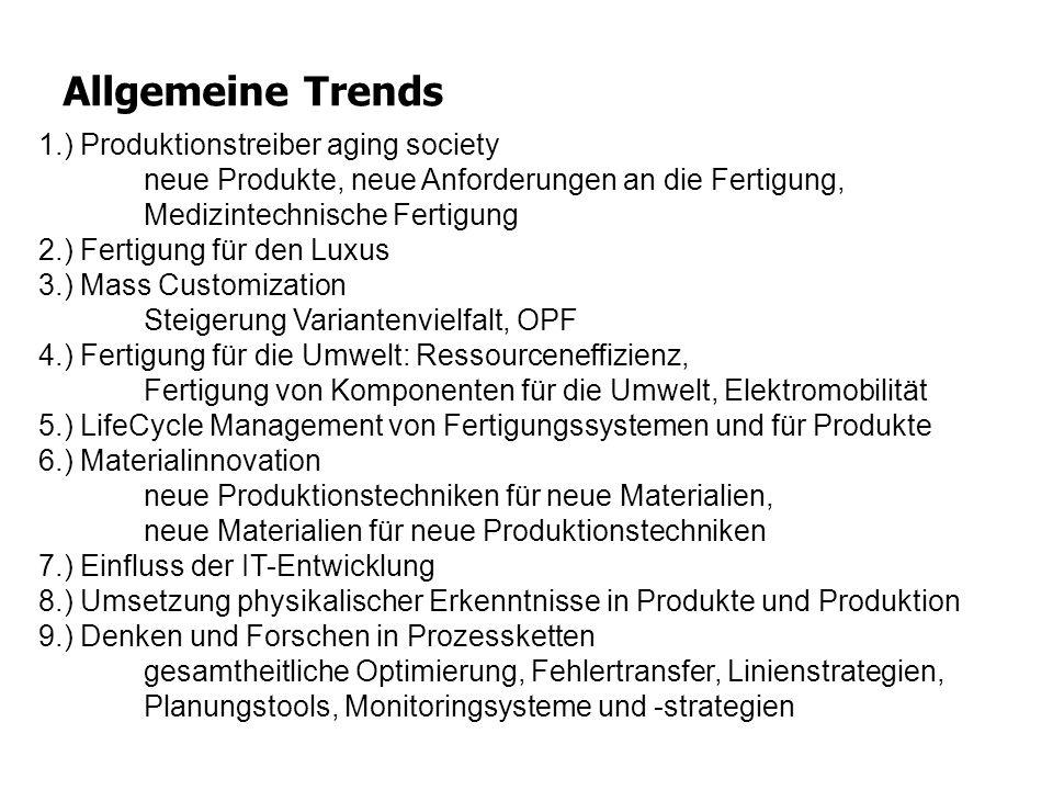 Allgemeine Trends 1.) Produktionstreiber aging society neue Produkte, neue Anforderungen an die Fertigung, Medizintechnische Fertigung 2.) Fertigung f