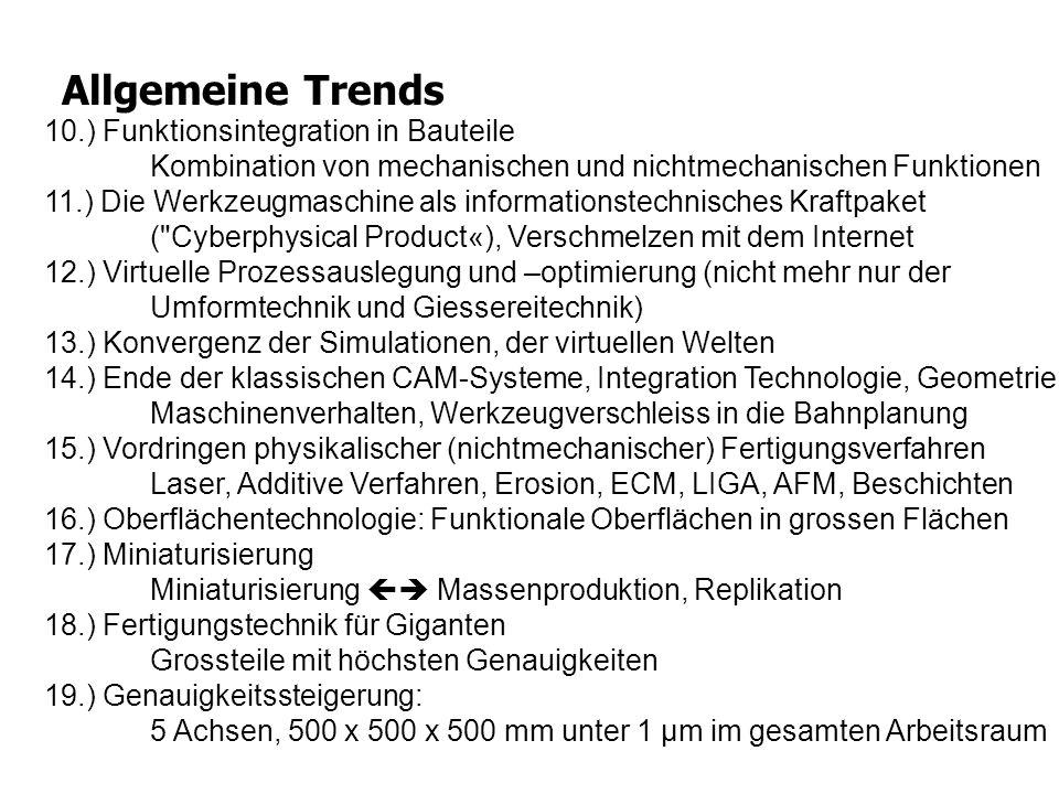 Allgemeine Trends 10.) Funktionsintegration in Bauteile Kombination von mechanischen und nichtmechanischen Funktionen 11.) Die Werkzeugmaschine als in